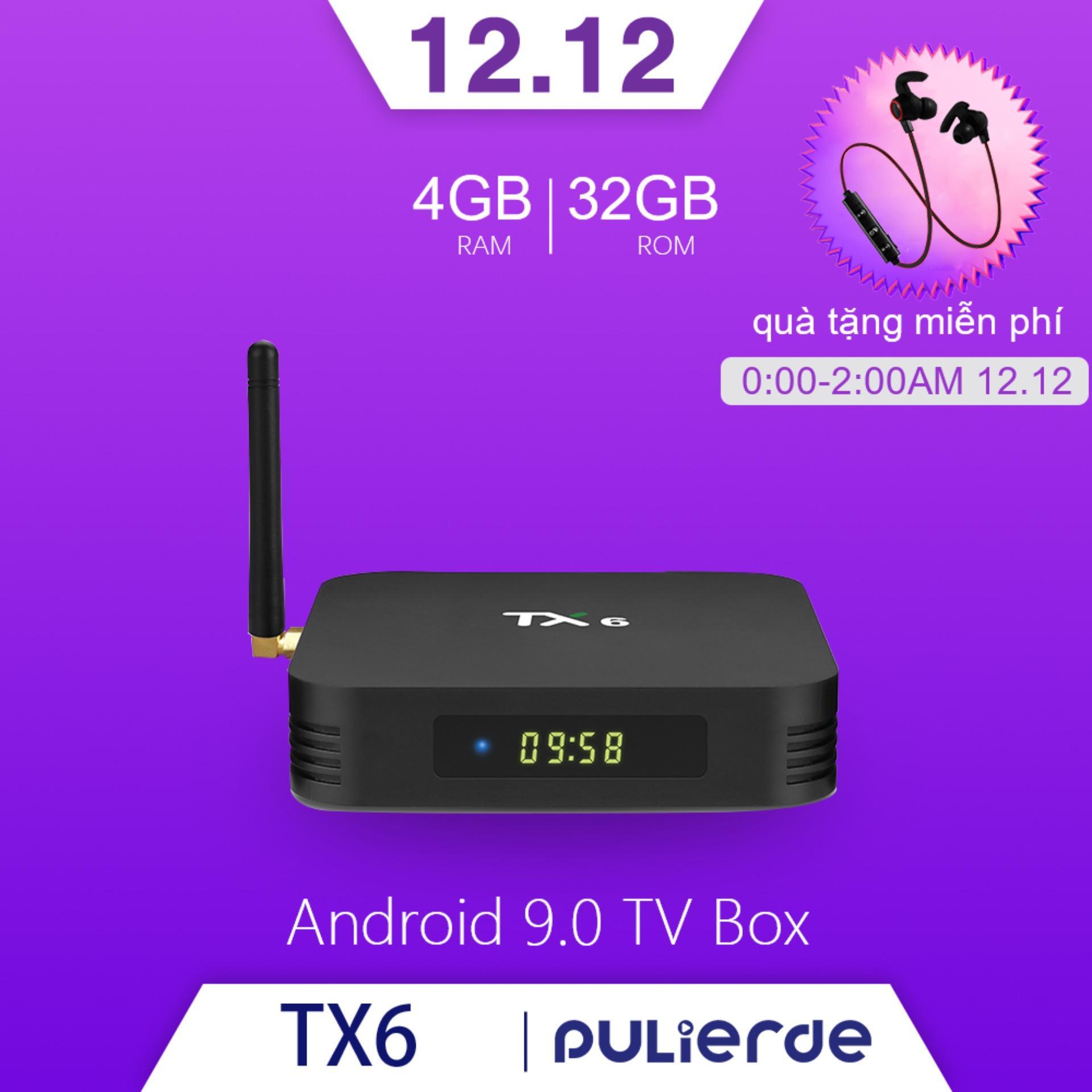 Mã Coupon TX6 Tivi Box Android 9.0 4GB RAM 32GB ROM 2.4G Wifi Hỗ Trợ 6K Smart TV Box Trình Phát đa Phương Tiện Allwinner H6 Quad Core