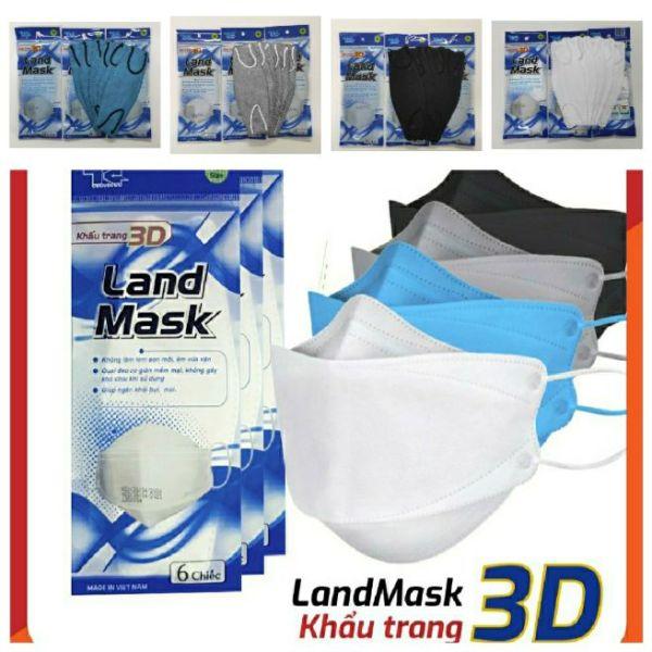 COMBO 5 Túi Khẩu Trang 3D Land Mask 1 Túi 6 chiếc - ( LOẠI TÚI XANH ) Có 5 màu lựa chọn