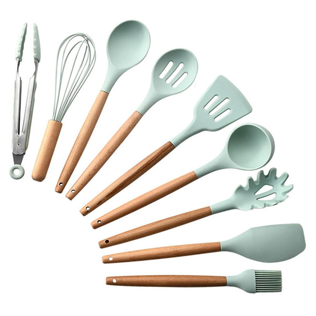 9/12 pcs Silicone Cooking Kitchen Utensils Set, Bamboo Wooden Handles Cooking Tool Non Toxic Kitchen Gadgets Utensil Kit Nonstick Cookware