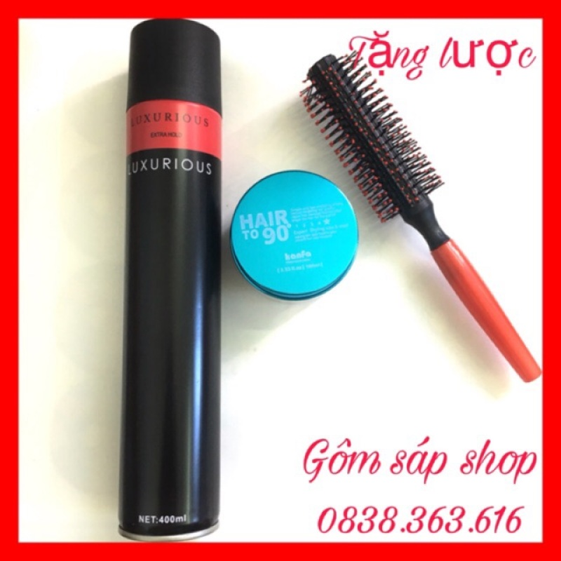 COMBO GÔM XỊT TÓC NAM NỮ LUXURIOUS 420ML  + SÁP KANFA/sáp vuốt tóc/ wax vuốt tóc/ keo vuốt tóc/ sap vuot toc giá rẻ