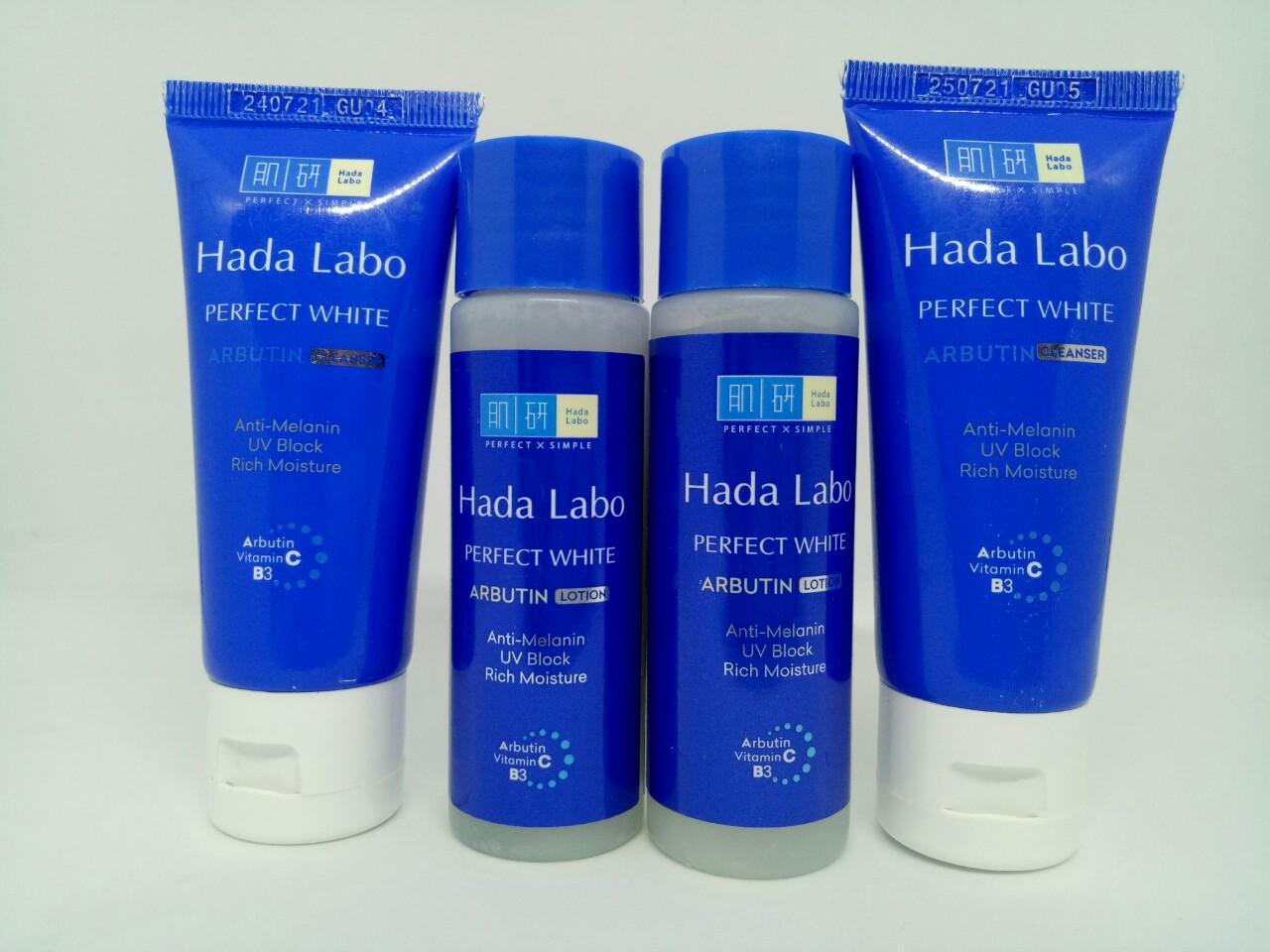 Trọn bộ 4 món dưỡng trắng da dành cho mọi lứa tuổi : 2chai Dung dịch Hada Labo Perfect White Lotion + Tặng 2 tuýt sữa rửa mặt Hada Labo Perfect White & kèm thêm 1 túi đựng mỹ phẩm