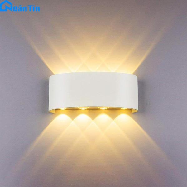 Đèn Led hắt tường treo tường gắn tường ngoài trời trong nhà 8 bóng Led 12W VNT624 Ngân Tín. Kích thước: 22Cm x 9Cm x 5Cm Công suất: 12W