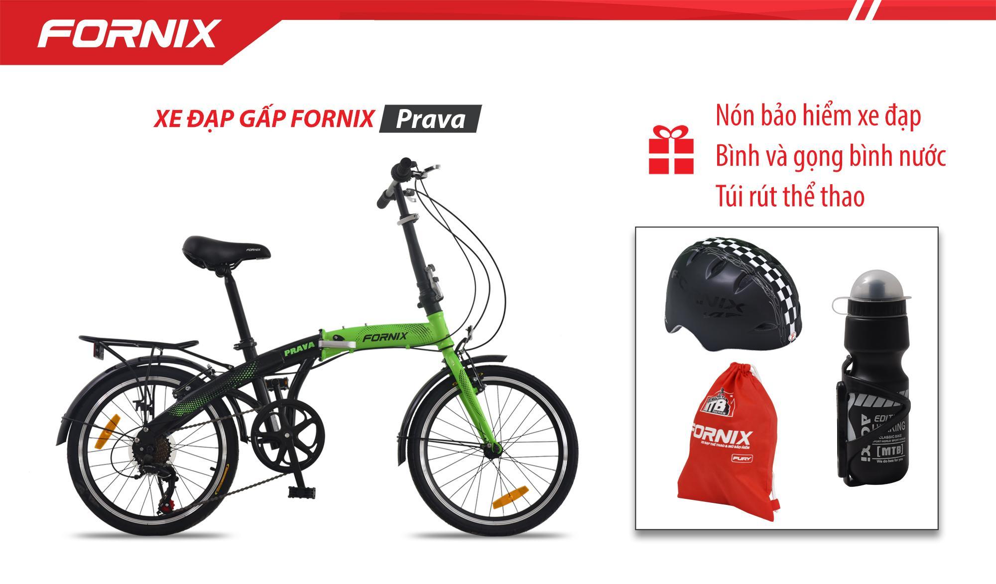 Mua Xe đạp gấp hiệu FORNIX, mã PRAVA (NEW)+ (Gift) Nón BH A01NV1 + Túi Fornix +Bình và gọng bình nước- Bảo hành 12 tháng