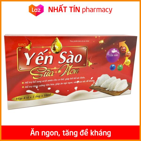 Siro Yến Sào Sữa Non giúp ăn ngủ ngon, tiếu hóa tốt, tăng đề kháng cho trẻ từ 6 tháng tuổi - Hộp 20 ống - NHẤT TÍN PHARMACY giá rẻ