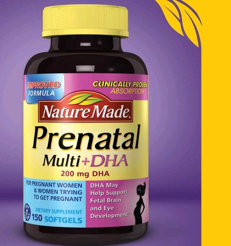 Thực phẩm chức năng Vitamin Bầu Nature Made Prenatal Multi DHA 200mg 150 Viên nhập khẩu