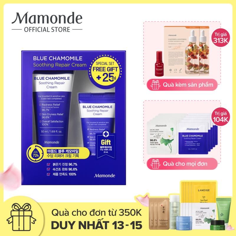 Bộ Kem Dưỡng Phục Hồi Và Làm Dịu Cho Da Nhạy Cảm Mamonde Blue Chamomile Soothing Repair Cream 50ml + 25ml giá rẻ