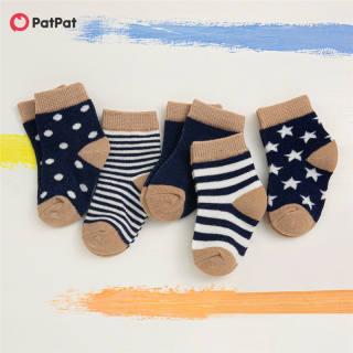 5 Gói PatPat Tất Cotton Dệt Kim Màu Hoạt Hình Dễ Thương Cho Em Bé/Trẻ Mới Biết Đi -Z