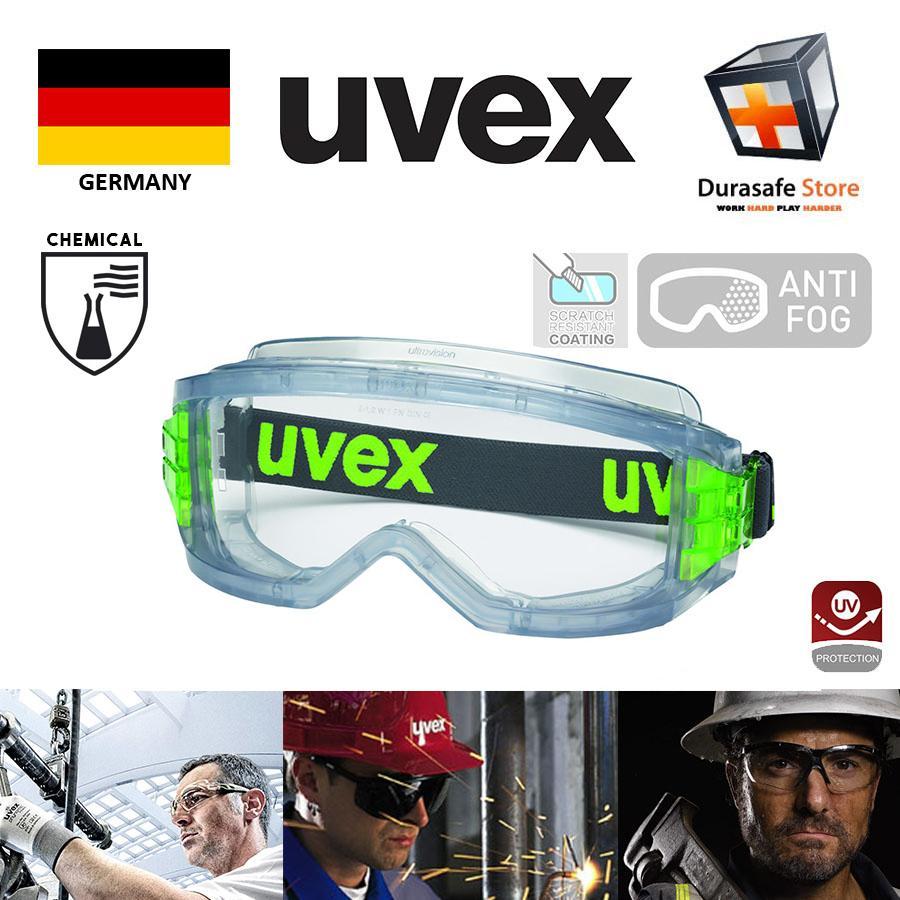 Kính Uvex 9301906 Ultravision Wide Vision Chemical Goggle Anti-Fog Clear Len/ Tầm nhìn rộng, chống hóa chất, chống sương mù, tròng clear