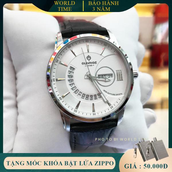 Đồng Hồ Nam Sunrise 1130SA - Hộp  + Thẻ BH - Kính Sapphire chống xước , chống nước - dây da cao cấp