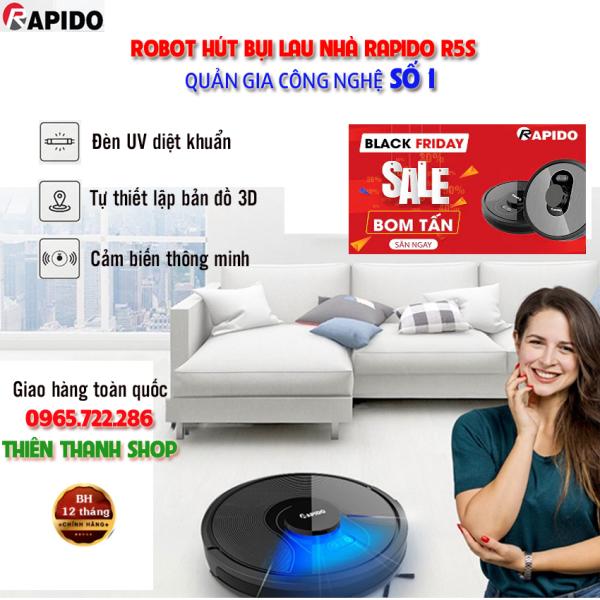 FreeShip - Robot hút bụi lau nhà thông mình Rapido R5S, máy hút bụi với công nghệ cảm biến thông minh, điều phối tự động giúp hút sạch sàn nhà gia đình bạn. Đèn UV giệt sạch vi khuẩn - hàng chính hãng, bảo hành 12 tháng trên toàn quốc