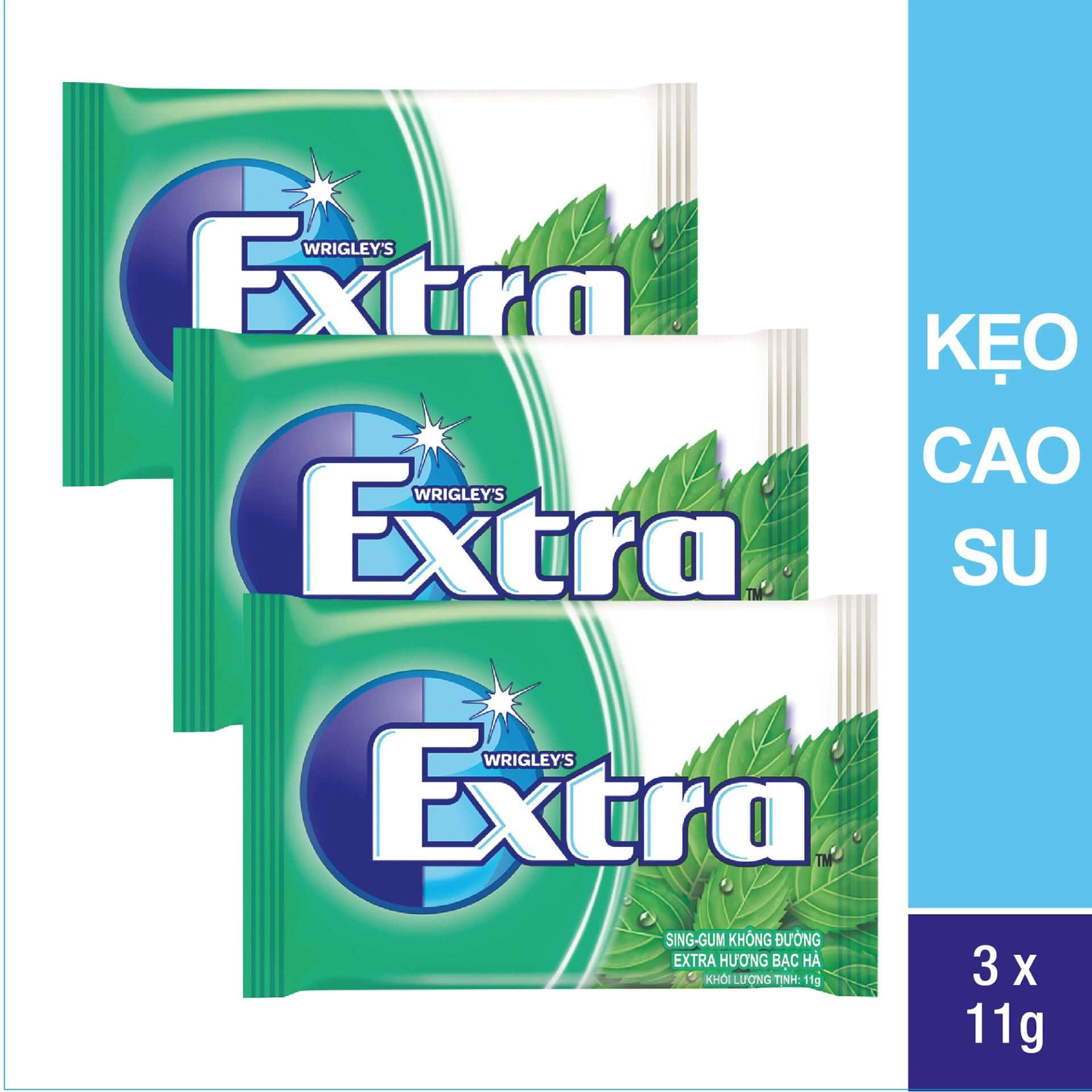 Bộ 3 vỉ kẹo cao su Extra Sweetmint