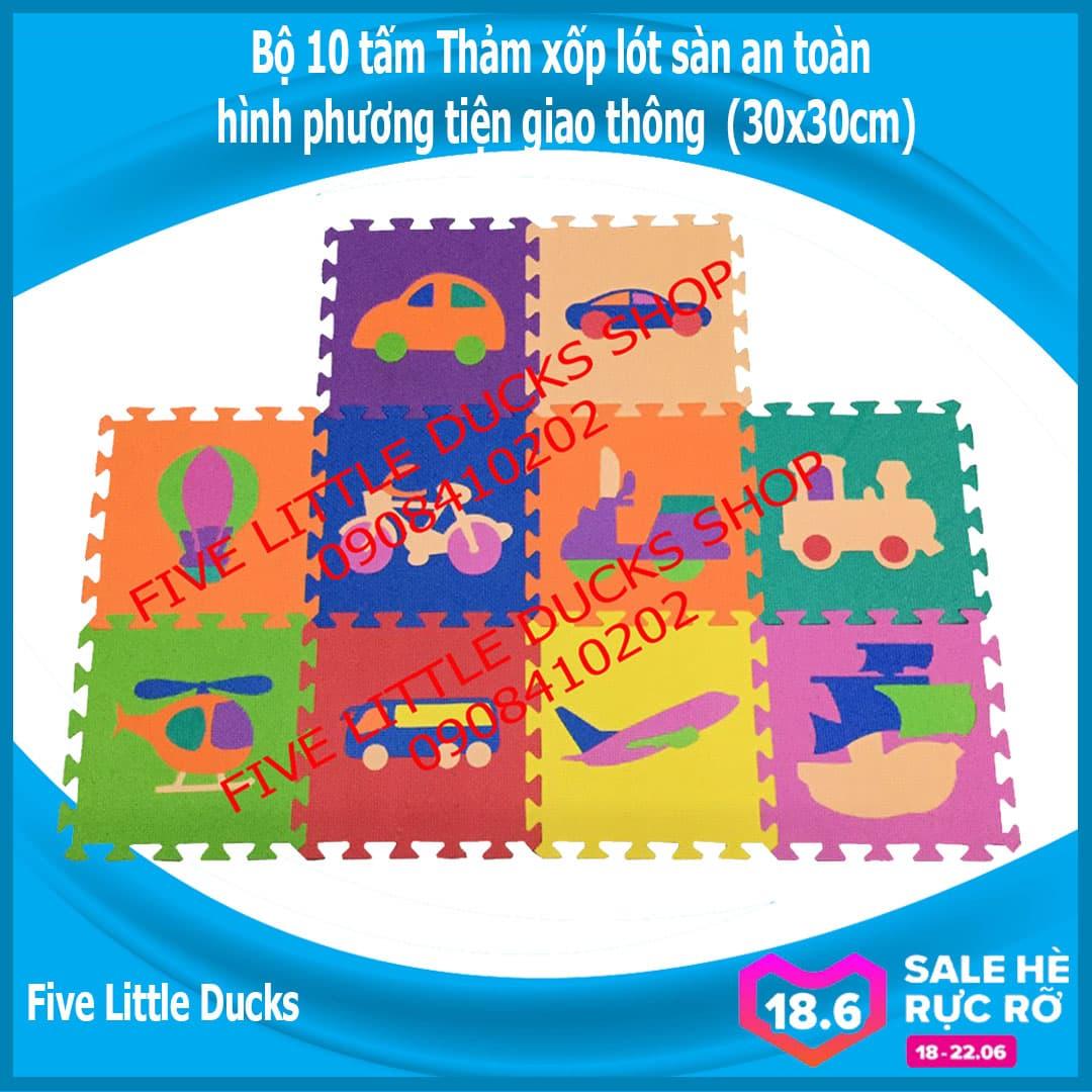 Offer Ưu Đãi Bộ 10 Tấm Thảm Xốp Lót Sàn An Toàn Cho Bé Hình Phương Tiện Giao Thông - 30x30cm - Xuất Xứ Việt Nam