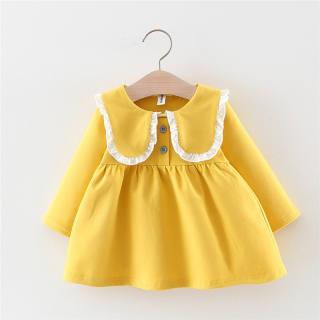 (Ảnh thật)Váy Tết Dài Tay Bé Gái Dáng Babydoll Cổ Vuông Bèo Phối Màu Có Cúc Ngực Thời Trang Julykids VAY G10011