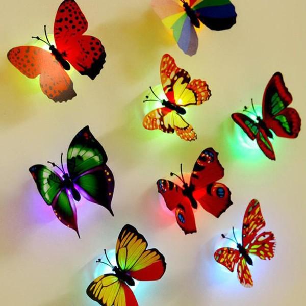 Đèn lep dán tường hình con bướm xinh xắn nhiều màu sắc, đèn lep trang trí nhỏ gọn tiện lợi tuancua