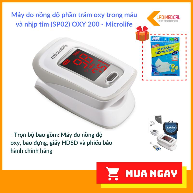[Tặng 5 KT Mayan 3D cao cấp] Máy Đo Nồng Độ Oxy Trong Máu SPO2 OXY200 chính hãng Microlife Thụy Sĩ dùng để đo nhịp tim và nồng độ oxy trong máu