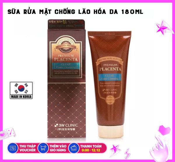 Sữa Rửa Mặt Chiết Xuất Nhau Thai  3W Clinic Premium Placenta Clear Foam Cleansing (180ml)