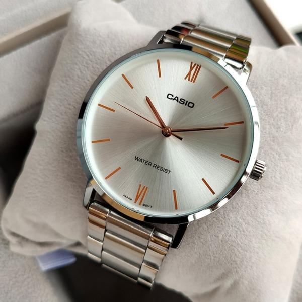 Đồng hồ nam Casio MTP-VT01D-7BUDF Dây kim loại mặt trắng bán chạy