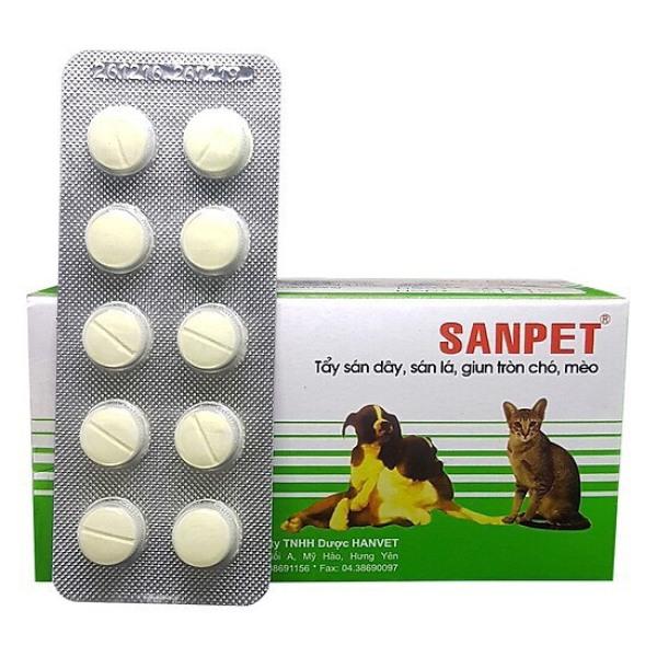 Sanpet tẩy giun sán chó mèo (1 vỉ 10 viên)