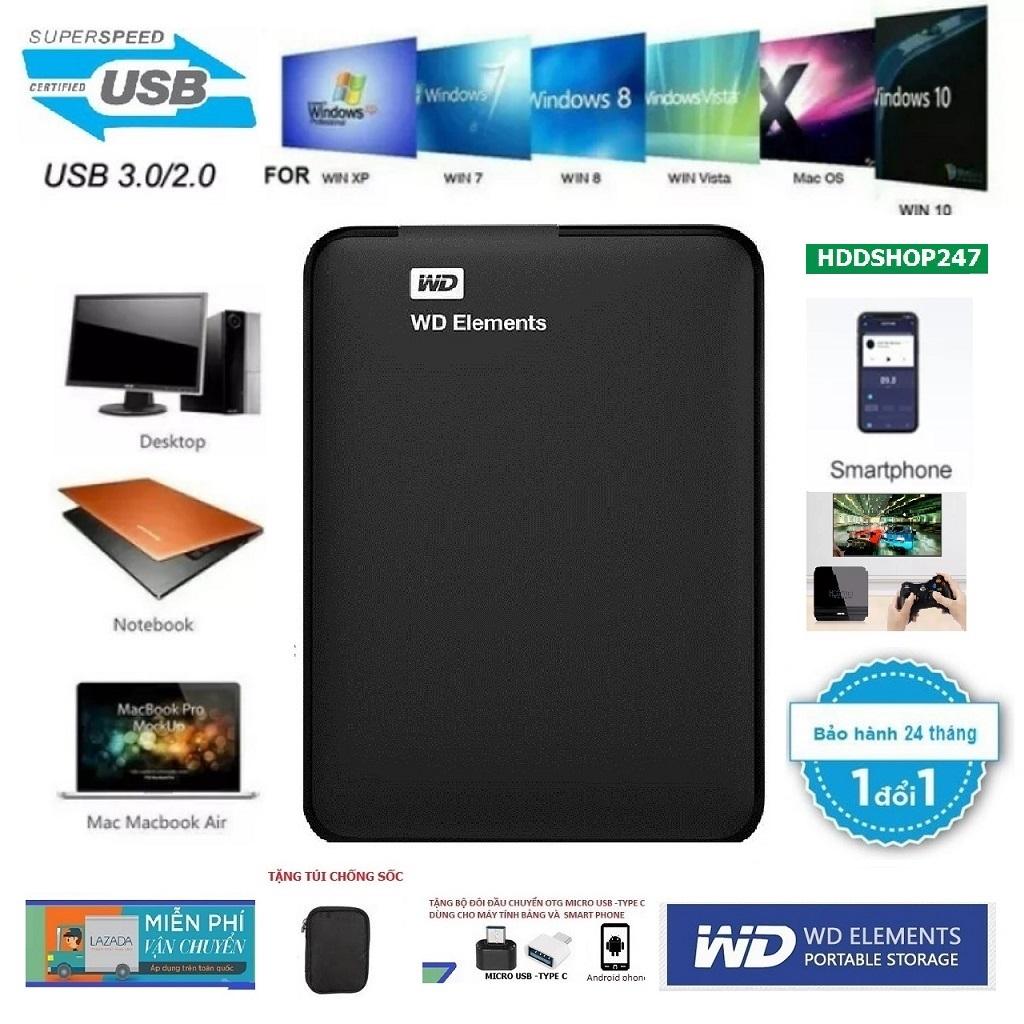 Ổ Cứng Di Động WD Elements 1TB,500GB,320GB BH 24 Tháng-Tặng túi chống sốc,đầu chuyển OTG Micro USB,Type-C cho Smart Phone