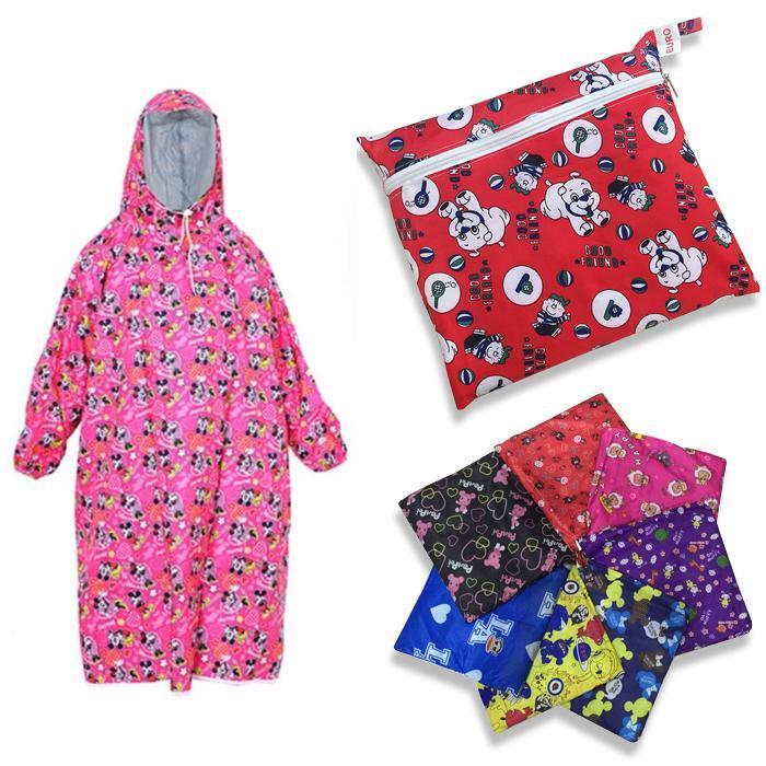 Áo Mưa Trẻ Em Vải Dù Bít 2 Bên Hoa Văn Nhiều Màu Size 9 ( từ 6 đến 11 tuổi ) Nhật Bản