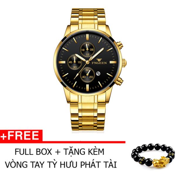 Đồng hồ nam thời trang chống nước FNGEEN có lịch ngày Tặng vòng tay Tỳ Hưu ( Vàng) bán chạy