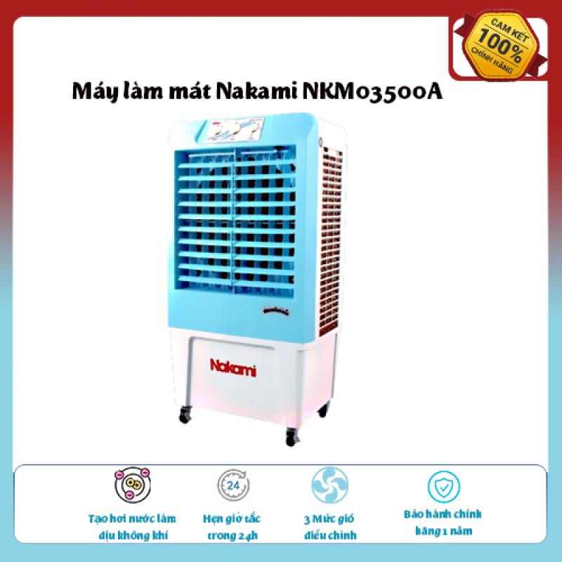 Máy làm mát Nakami NKM03500A Loại quạt: Quạt điều hòa , diện tích làm mát 20 – 25 m2, Tạo hơi nước làm dịu không khí,Tốc độ gió: 3 mức, Đảo gió 4 chiều