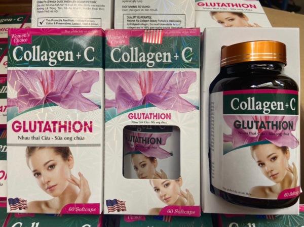 Viên uống đẹp da Collagen +C giảm thâm nám tàn nhang ngừa nếp nhăn chống lão hóa - Hộp 60 viên Chính hãng giá rẻ