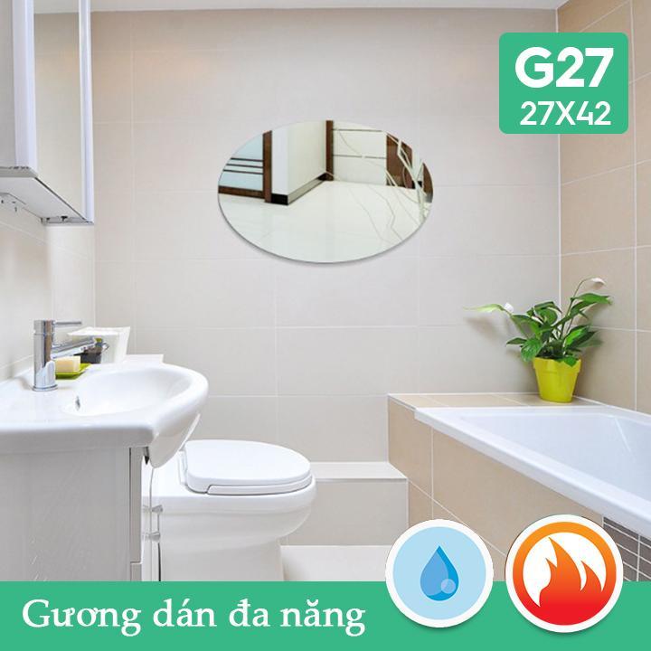 Gương dán nhà tắm đa năng bầu dục 27x42cm Combo2 tấm giá rẻ