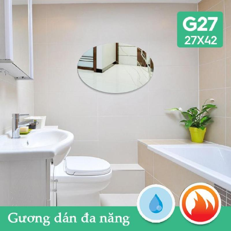 Gương dán nhà tắm đa năng bầu dục 27x42cm Combo2 tấm