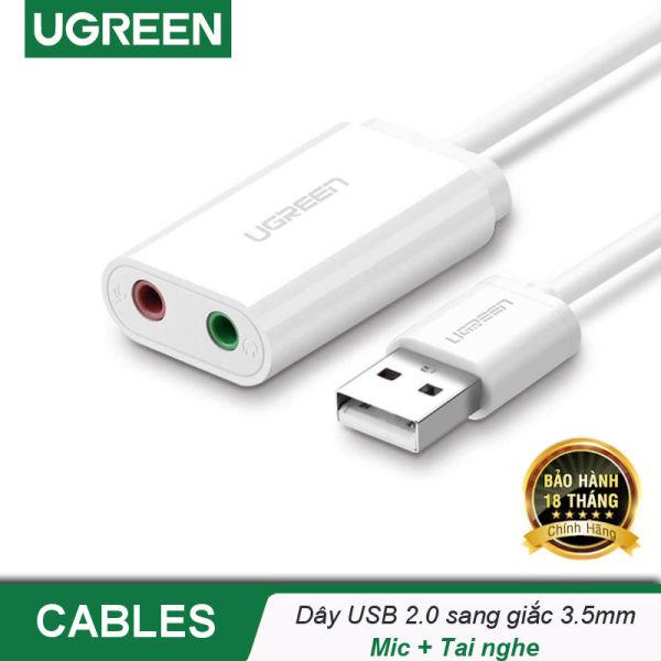 Bảng giá Dây USB 2.0 mở rộng sang đồng thời 2 cổng 3.5mm cho tai nghe + mic, không cần driver UGREEN US205 - Hãng phân phối chính thức Phong Vũ