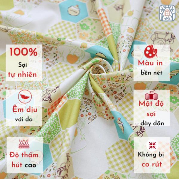 Vải cotton 100% tự nhiên🍒Chuanshui🍒khổ vải 110cm,GIẢ QUILT, QUILT- vải đẹp handmade, quilt, may quần áo, túi, mũ cao cấp