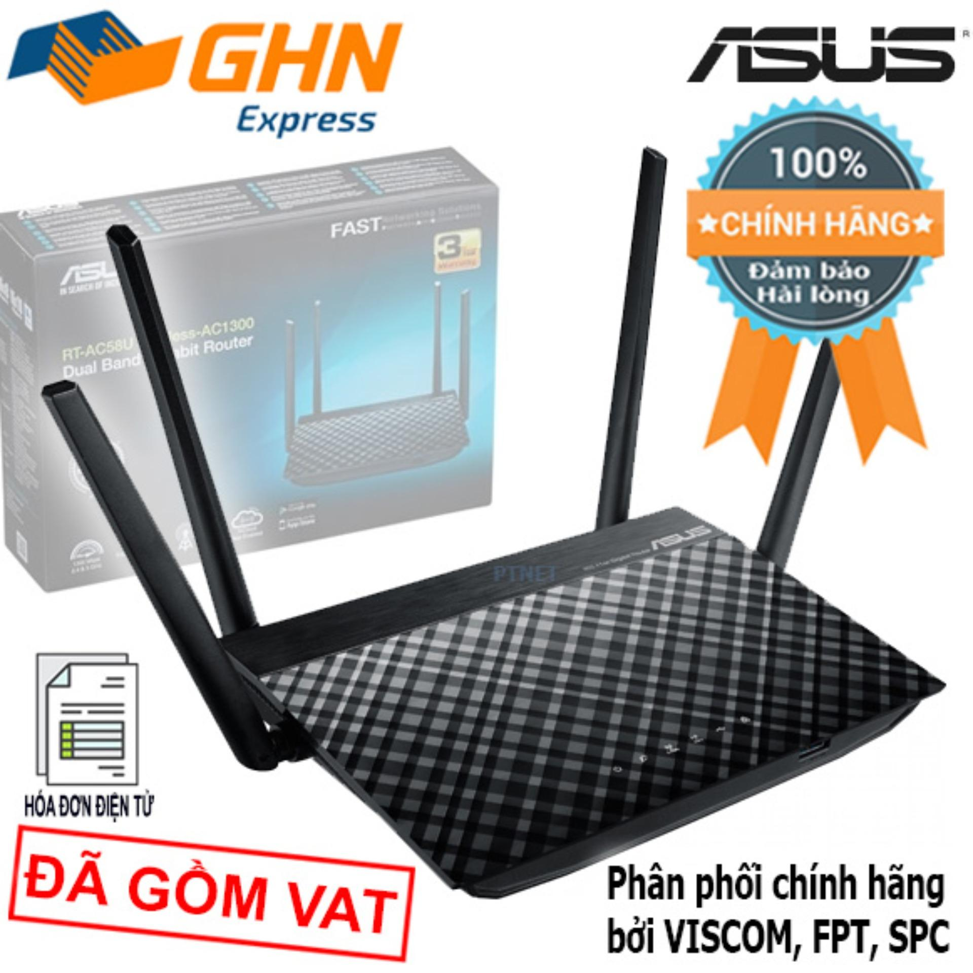 Giá Bộ phát sóng không dây công suất cao Asus RT-AC58U 4 Ăng-ten, siêu xuyên tường công nghệ AC1300, phủ sóng rộng (Đen -Black)