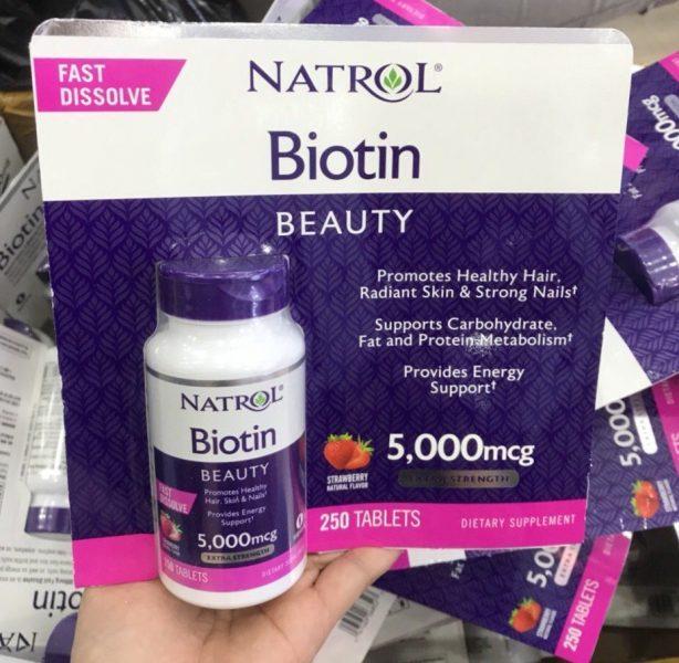 Viên ngậm hương dâu Natrol Biotin Beauty 5000mcg Extra Strength chính hãng