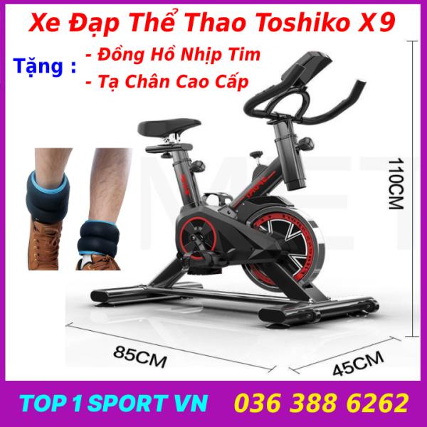 Xe đạp tập thể dục thể thao tại nhà Toshiko X9 tặng tạ chân cao cấp + đồng hồ cảm biến nhịp tim - bảo hành 36 tháng