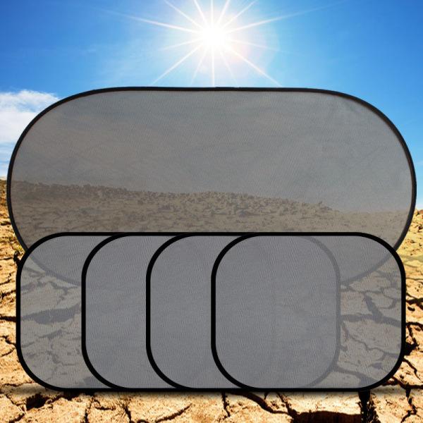 Sakora Bộ tấm 5 tấm chắn nắng cao cấp cho ô tô (Loại,1 tấm (100X50cm), 4 tấm(36cX44cm), 10 cốc hút, 1 túi opp)