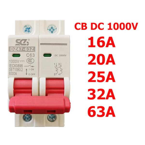 CB 1 chiều (SC)-CB DC 1000V attomat điện một chiều cầu dao chuyên dụng cho Solar Năng Lượng Mặt Trời 16A/20A/25A/32A/63A/2P – aptomat 1 chiều