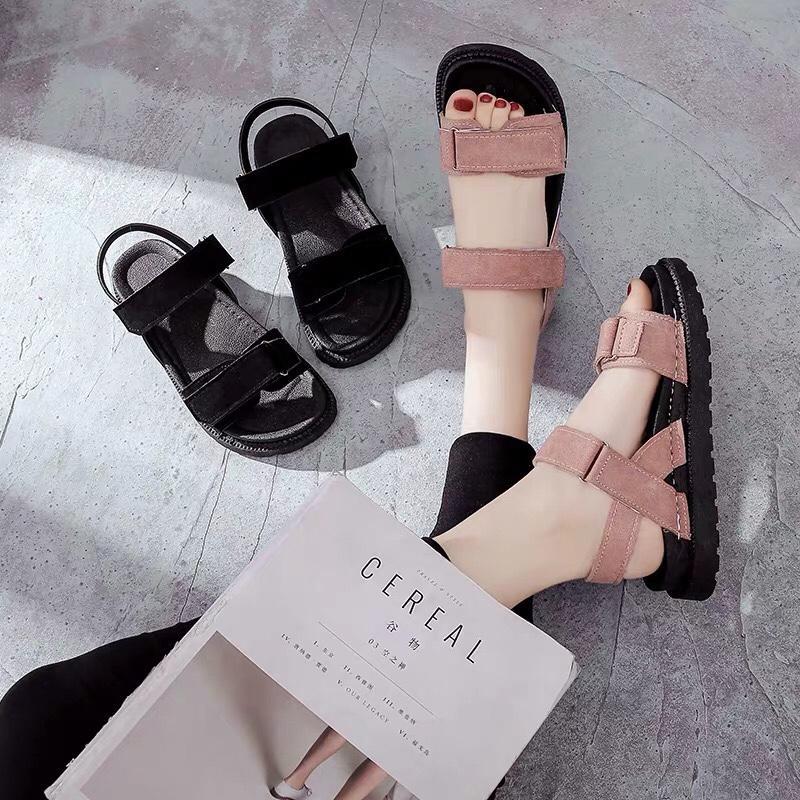 Dép sandal nữ quai ngang da lộn phong cách hàn quốc đế bánh mì siêu êm đi học đi làm hay đi chơi đều có thể sử dụng Nhật Bản