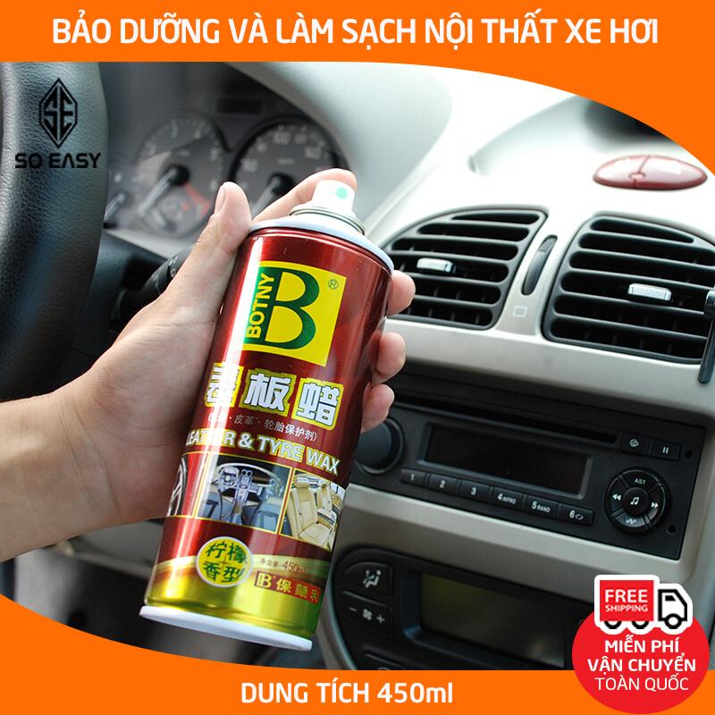 Dung dịch bảo dưỡng nội thất BOTNY Leather & Tyre wax 450ml, chai xịt làm sạch và dưỡng bóng da ghế, táp lô, lốp xe hơi, ô tô, xe tải-B-1192