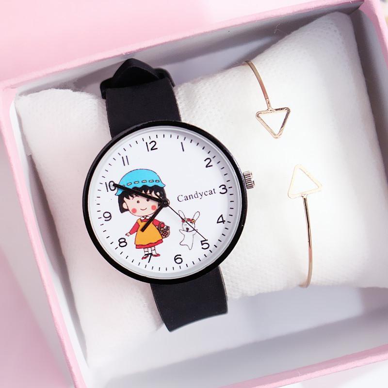Đồng hồ hình cô bé hạt tiêu dây Silicon bền bỉ Candycat