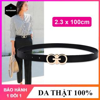 Dây nịt nữ thắt lưng nữ Nutushop kiểu dáng thời trang cá tính chất liệu da bò cao cấp, bản nhỏ thích hợp với quần jean, quần âu,váy, đầm NT272 thumbnail