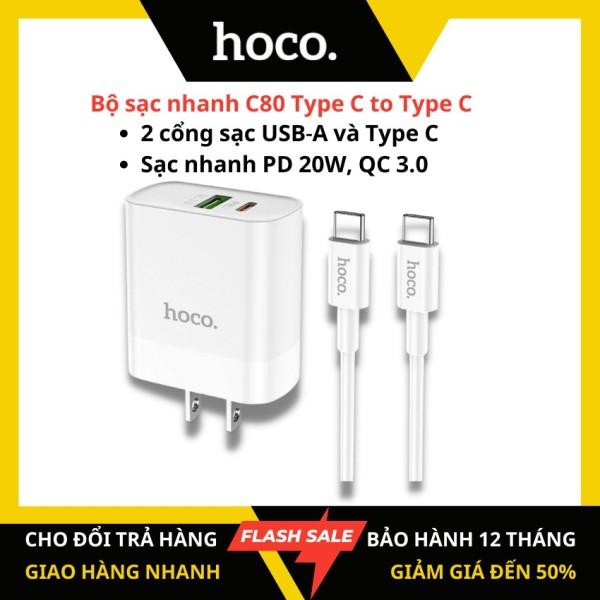 [Chính hãng HOCO] Bộ sạc nhanh Hoco C80 Type C to Type C 2 cổng (USB-A và Type C) sạc nhanh PD 20W Q.C3.0 cáp Type C to Type C dài 1m cho Samsung hay điện thoại android - KAMTrading