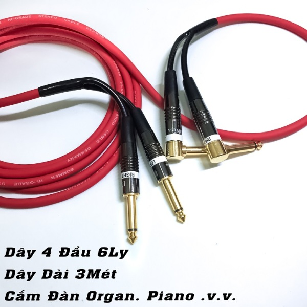 (3Met) Dây 4 Đầu 6 Ly Cắm Đàn Organ. Dây Tín Hiệu Nhạc Cụ 4 Đầu Jack 6Ly - MrG