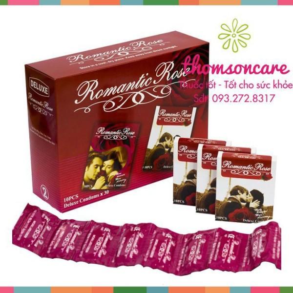 Combo 4 hộp Bao cao su Romantic - Hộp 10 chiếc bcs gân gai - Luôn che tên sản phẩm cao cấp