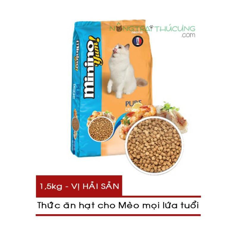 Thức ăn hạt cho Mèo mọi lứa tuổi Minino Yum! gói 1,5kg - Vị Hải Sản - [Nông Trại Thú Cưng]