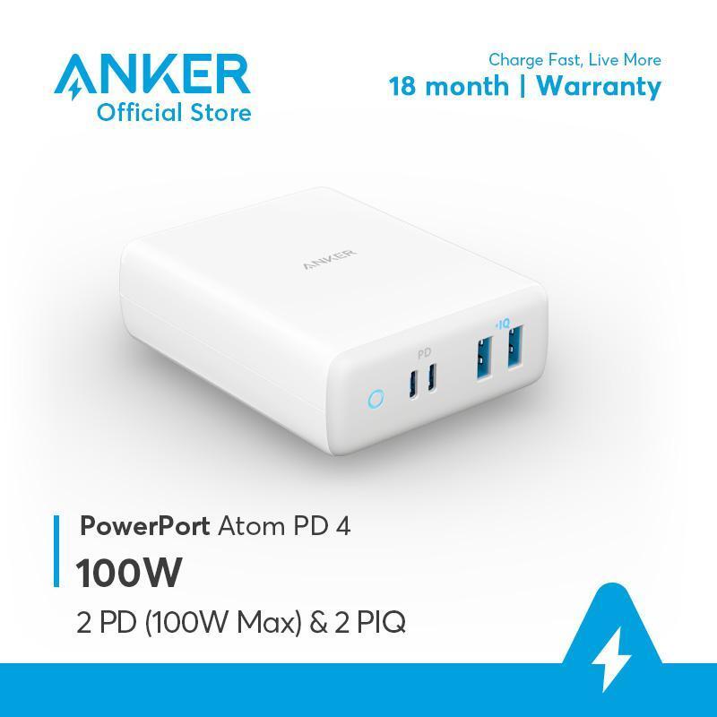Sạc ANKER PowerPort Atom PD 4 100W 2 cổng PD và 2 cổng PIQ - A2041
