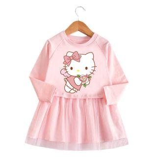 Đầm Hình Mèo Hello KT Hoạt Hình Cho Bé Gái Đầm Ren Dài Tay Cho Bé Gái Váy Xòe Vải Tuyn Cotton Hello-Kitty Hoạt Hình Trang Phục Dự Tiệc Sinh Nhật Thường Ngày Chất Lượng Cao 1-8 Năm