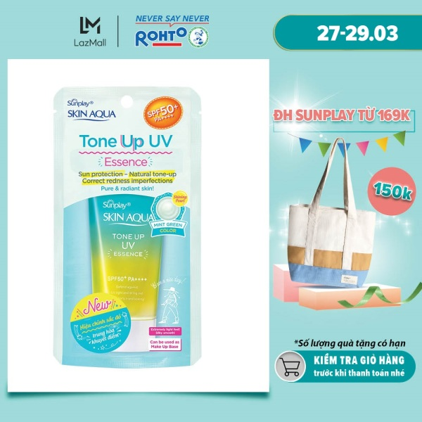 Tinh chất chống nắng nâng tông dành cho da khô/ thường Sunplay Skin Aqua Tone Up UV Essence (Mint Green) (dành cho da sáng, có khuyết điểm đỏ) (50g)