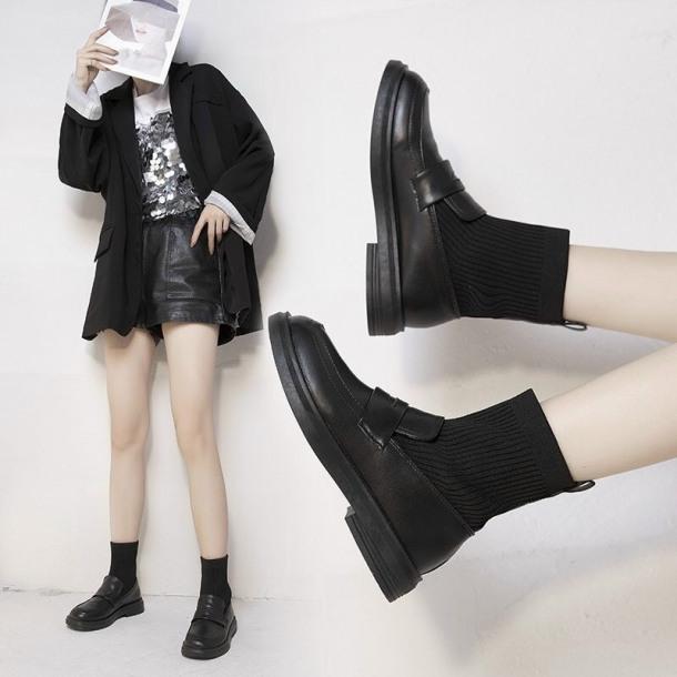 giày nữ da bóng liền tất kiểu dáng hàn giá rẻ
