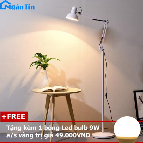Đèn Cây Đứng Trang Trí Phòng Khách Phòng Ngủ Đọc Sách DC519 Ngân Tin Màu Trắng (Tặng kèm một bóng Led Bulb 9W chất lượng)