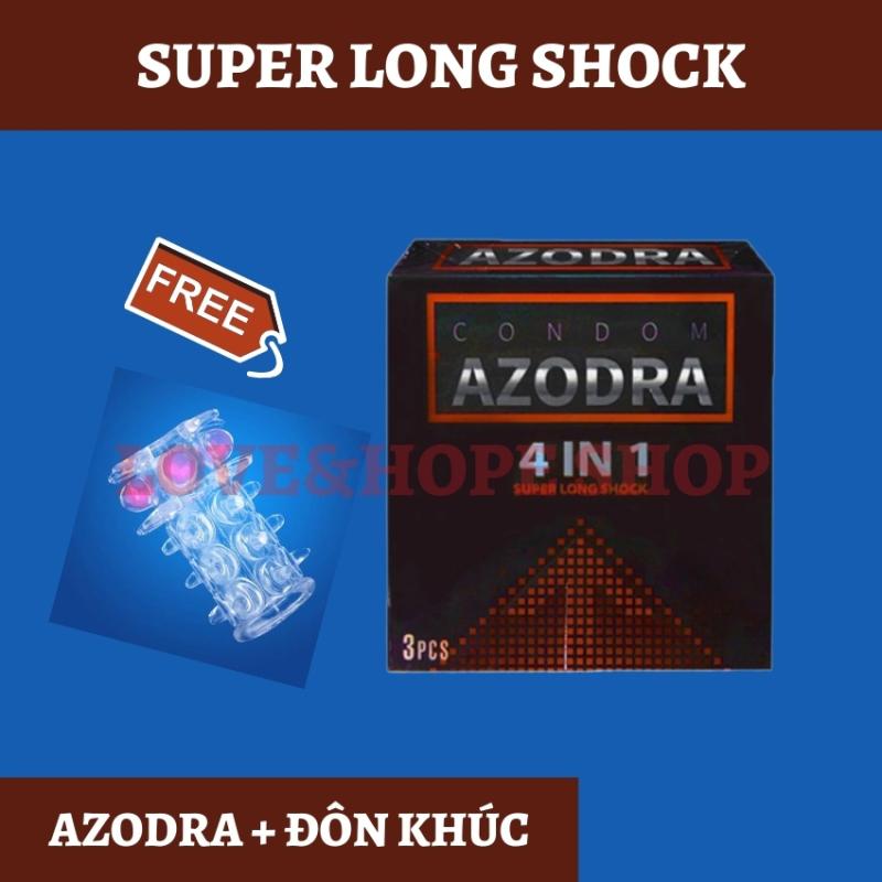 [HÀNG LOẠI 1]Bao cao su Azodra 4in1 super long shock 3s TẶNG KÈM bao đôn giữa nhỏ giao màu ngẫu nhiên - 1 set - Love&Hope Shop